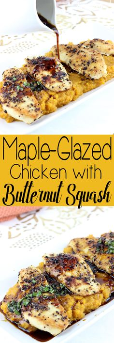 Maple-Glazed Chicken with Butternut Squash is a quick dinner recipe that has the flavors of  fall and winter. | EverydayMadeFresh.com http://www.everydaymadefresh.com/maple-glazed-chicken-butternut-squash/