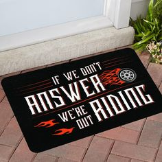 Bikers will be proud to welcome guests with this funny personalized door mat. A perfect gift for that special motorcycle enthusiast in your life. Features a po Harley Davidson Merchandise, Harley Davidson Motorcycles, Custom Motorcycles, Bike Ride Quotes, Motorcycle Humor, Motorcycle Gifts, Motorcycle Garage, Biker Quotes, Biker T Shirts