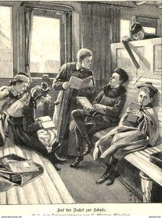 Bücher, Zeitschriften, Comics - Auf der Fahrt zur Schule (F.Müller-Münster) /Druck, entnommen aus Zeitschrift/1896