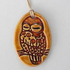 Large Oval Owl Pattern Design Ceramic Pendant Unisex by BluMudd, $10.00