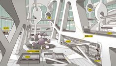 Aymaric Kevin. Background Designs made for Space☆Dandy episode #5.