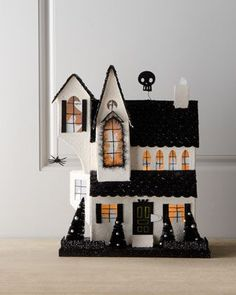 Black & White Halloween House at Horchow (Glitter house! Halloween Town, Casa Halloween, Holidays Halloween, Vintage Halloween, Halloween Crafts, Halloween Decorations, Diy Halloween Village, Glitter Texture, Black White Halloween