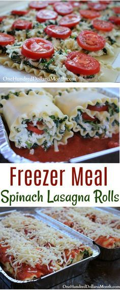 Simple Caprese Lasagna Roll-ups With spinach. Delicious and easy to do as a freezer meal. Via @onehundreddollarsamonth.com