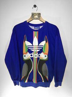 Vintage Women's ADIDAS Big Spell Out Logo Sweatshirt Jumper Navy Blue XS