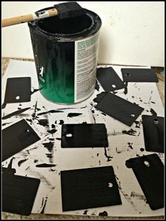 Second Chance To Dream - DIY Chalkboard Tags from Formica Samples Recycled Crafts, Wood Crafts, Diy And Crafts, Crafts For Kids, Chalkboard Tags, Chalkboard Paint, Wood Tags, Paint Samples, Kids Wood