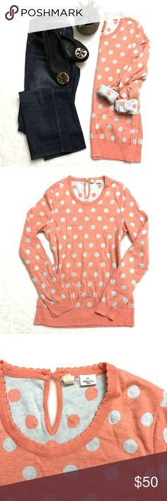 ANTHROPOLOGIE Orange Sherbet Polka Dot Sweater ANTHROPOLOGIE Orange Sherbet Polka Dot Sweater by Moth. Size small. Super soft and cozy. Gray lining and gray Polka dots with the sweetest scalloped neckline. Anthropologie Sweaters