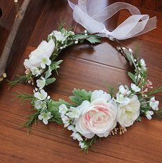 Chris.W Girls First Communion Pink Floral Wreath Veil Headband Flower Crown Hair Wreath Halo With Adjustable Ribbon