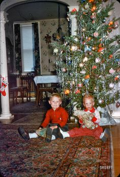 Tree Tots: Circa 1958, it's the Pennsy Brothers, and they're ready for Christmas. Let's see some presents under that tree! 35mm Kodachrome slide.