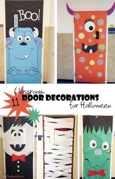Easy Classroom Door Decorations for Halloween Attention room moms and school volunteers Check out these fun ideas for decorating classroom doors this season Casa Halloween, Theme Halloween, Halloween Crafts, Halloween College, Halloween Horror, Spirit Halloween, Halloween Classroom Decorations, Fall Door Decorations, Monster Door Decoration