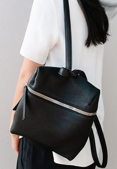 Minimal Backpack - black leather bag, chic minimalist style