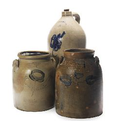 2 whately stoneware crocks and bennington vt jug.