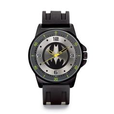 """Just in time for the new movie! Batman logo on dial. 10"""" L silicone strap.TM & ©DC Comics. WB SHIELD TM & ©Warner Bros. Entertainment Inc. (s16)©2016 Marvel Comics"""