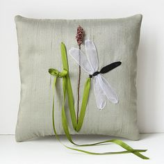 Dragonfly Ring Pillow rustic country wedding ribbon by bstudio, $45.00