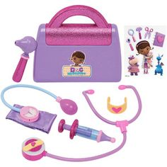 I received a Doc McStuffins Dress up set and Doctor's Bag in exchange for this post. Check out these awesome Doc McStuffins toys! Perfect for the upcoming holiday season, your Toddler Toys, Baby Toys, Kids Toys, Toys Uk, Baby Baby, Little Girl Toys, Toys For Girls, Doc Mcstuffins Bag, Doc Mcstuffins Costume