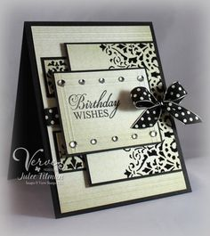 Stamps: Wishful Elegance (Verve)  Paper: Basic Black (SU!), La Creme (DCWV)  Ink: Onyx Black (Versafine)  Accessories: Scor-Pal, rhinestones, polka dot ribbon
