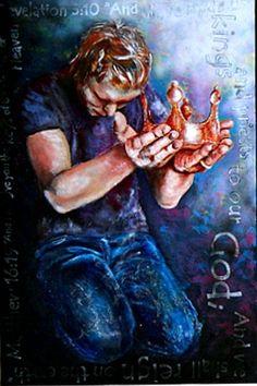Man kneeling offering his crown, prophetic art. Christian Artwork, Christian Pictures, Meaningful Paintings, Bride Of Christ, Prophetic Art, Biblical Art, Lion Of Judah, Bible Art, Religious Art