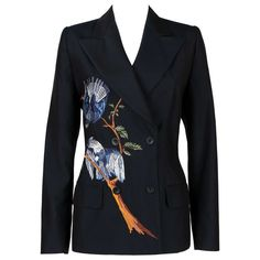 View this item and discover similar for sale at - Alexander McQueen for Givenchy Couture blazer jacket from the Spring/Summer 1998 Collection. Embroidered Bird, Embroidered Jacket, Suit Fashion, Fashion Dresses, Womens Fashion, Givenchy, Alexander Mcqueen, White Converse Outfits, Formal Jacket