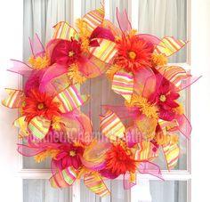 Deco Mesh Orange Hot Pink Screen Door Summer Wreath. $45.00 USD, via Etsy.