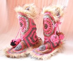 Crochet slippers boots pink grey brown woman one of a kind in door wearing fur
