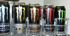 "Monster energy drink packaging with slashes that look like a vicious scratch and what appears to be a crosshair and bullet holes. Flavors include ""sniper,"" ""assault,"" and Dream Party, Beverage Packaging, Monster Energy, Drinking Water, Caffeine, Energy Drinks, Marketing, Bullet, Google Search"
