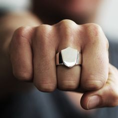 Sterling Silver Rings for Men Personalized Shield Signet Ring