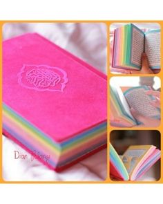 """~ The """"Rainbow"""" Qu'ran. I'd love to have this but, it's HARAM to sell/make money from the Qu'ran. Still love it,want one,and may still buy it. Prayer Quotes, Quran Quotes, Spiritual Quotes, Islamic Quotes, Quran Karim, Rainbow Pages, Surrender To God, I Will Remember You, Quran Pak"""
