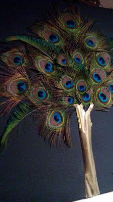my creations : διακοσμητικό κάδρο με φτερά παγωνιού