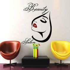 Beauty Salon Wall Art Girl Decal Vinyl Decals Wall Sticker Barbershop Living Room Bedroom Home Decor Interior Design Mural Beauty Salon Decor, Beauty Salon Interior, Wall Stickers Room, Vinyl Wall Decals, Art Mural, Wall Murals, Wall Art, Salon Signs, Diy Wallpaper