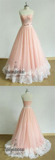 Pink Sweetheart Lace Tulle Zipper Up A-Line Floor Length Prom Dress, New Lovely Prom Dress, Prom Dresses, VB0275 #promdress