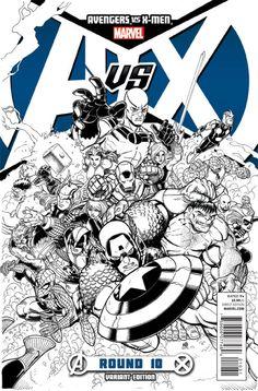 Variant sketch cover for AVENGERS VS. X-MEN #10
