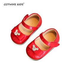 CCTWINS KIDS spring autumn girl fashion princess rhinestone shoe for baby toddler flat pu leather children bow party mary jane