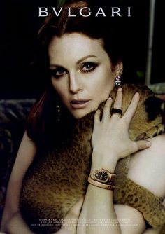 JULIANNE MOORE - AW 2010 / BULGARI--Would like to ask her about this ad. Baby wild cat! How awesome.