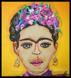 Frida Kahlo- acrylic on wood, in honor of her birthday July 6th. By Artesusanias- Susan Romero.