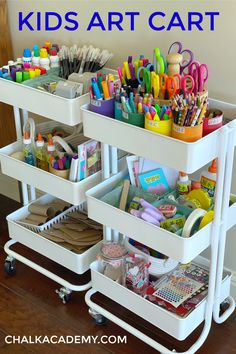 Our kids art cart has been a game changer for encouraging independence and creativity. An organized storage system with decluttering tips are helpful! Kids Room Organization, Organization Hacks, Organizing Art Supplies, Organizing Toys, Storage For Art Supplies, Organization Ideas, Dresser Organization, Kids Art Storage, Kids Playroom Storage
