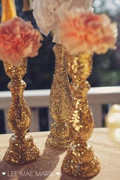 Decorating vases with glitter or rhinestones or paper/glue could be way cheaper then buying them all and you get to be unique   #gold wedding reception ... Wedding ideas for brides, grooms, parents & planners ... https://itunes.apple.com/us/app/the-gold-wedding-planner/id498112599?ls=1=8 … plus how to organise an entire wedding ♥ The Gold Wedding Planner iPhone App ♥ #GlitterDecorations