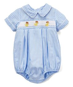 Look what I found on #zulily! Blue Baby Duck Smocked Bubble Bodysuit - Infant #zulilyfinds