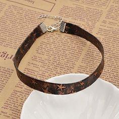 Amazon.com: Pentagram Print Choker Necklace Punk Collar Chunky Bib Christmas Gift Necklace 1 Pc: Jewelry