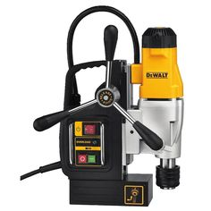 Dewalt magnetic drill press is powered by motor that has 2 speeds. It comes with safety feature such as overload protection to safeguard the motor. Further, Dewalt has fast-change chuck system for all your convenience and the high performance. Dewalt Drill Press, Cool Tools, Diy Tools, Mag Drill, Dewalt Power Tools, Power Hand Tools, Drilling Holes, Cordless Drill, Cordless Tools