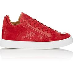 MM6 Maison Margiela Mixed-Material Sneakers (4.055 ARS) ❤ liked on Polyvore featuring shoes, sneakers, red, leather flat shoes, leather lace up sneakers, snakeskin shoes, red sneakers and lace up sneakers