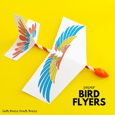Is your kid obsessed with all things flight, birds, paper airplanes, and origami they are going to absolutely love these amazing STEM bird flyers! Bird Paper Craft, Paper Birds, Bird Crafts, Animal Crafts, Paper Crafts, How Do Birds Fly, Stem Projects For Kids, Make A Paper Airplane, Brain Craft