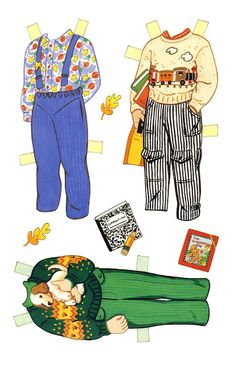Here's a paper doll set from Checkerboard Press called Friends at school.  It features 4 dolls, two boys and two g...
