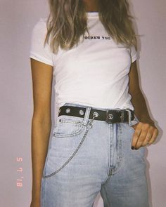SCREW YOU ️ Cool x badass wears // The Ragged Priest Friendly Ringer Tee + Miami Vice Jeans & Mirage Eyelet Belt 〰 Online now #PrincessPolly
