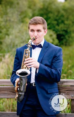 High School Senior Pictures at Juanita Bay Park | Classic Suit & Tie with Saxophone | Jean Johnson Productions - www.jjshotme.com