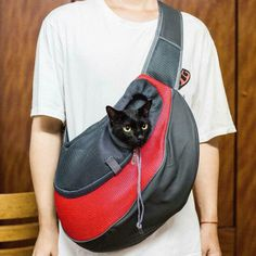 Pet Dog Cat Puppy Shoulder Bag Sling Backpack Carrier Comfort Travel Tote Red L - Ideas of Cat Backpack Cat Backpack Carrier, Pet Carrier Bag, Puppy Carrier, Sling Backpack, Pet Bag, Dog Cages, Small Cat, Pet Puppy, Dogs And Puppies