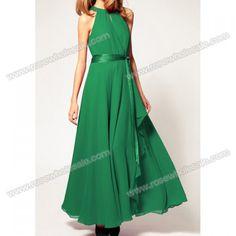 Wholesale Retro Style Round Neck Sleeveless Chiffon Long Dresses For Women (GREEN,ONE SIZE), Chiffon Dresses - Rosewholesale.com