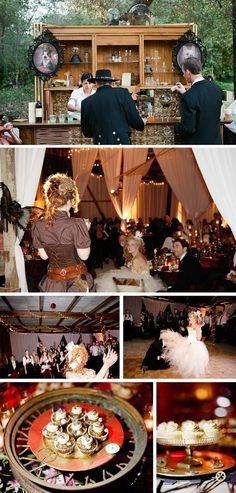 Victorian Steampunk Wedding - by Braedon Flynn Photography Brides And Bridesmaids, Bridesmaid Dresses, Wedding Dresses, Wedding Table Seating, Steampunk Halloween, Wedding Themes, Wedding Ideas, Wedding Stuff, Wedding Decorations