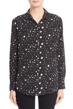 Kate Moss for Equipment 'Slim Signature' Star Print Silk Shirt