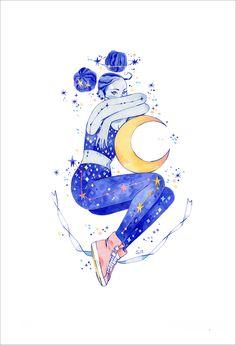 Into the Night (print), Sibylline Meynet Cartoon Drawings, Cartoon Art, Cute Drawings, Graphic Design Illustration, Illustration Art, Planet Drawing, Arte Sketchbook, Guache, Marker Art
