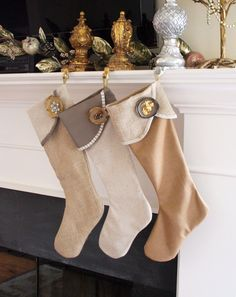 DIY Christmas Stockings • A round-up of amazing Christmas stocking Tutorials and Projects! Including, from 'handmade and homegrown', these lovely diy Christmas stockings.