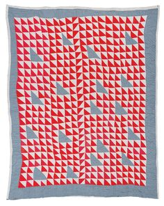 """Quilts of Gees Bend / Annie Bendolph, """"Thousand Pyramids"""" variation, ca. cotton sacking and chambray, 83 x 70 inches. Antique Quilts, Vintage Quilts, Gees Bend Quilts, Red And White Quilts, Half Square Triangle Quilts, Quilt Modernen, American Quilt, Amy Butler, Textiles"""